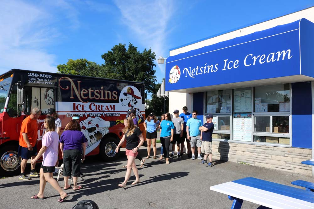 Netsins Ice Cream truck and employees